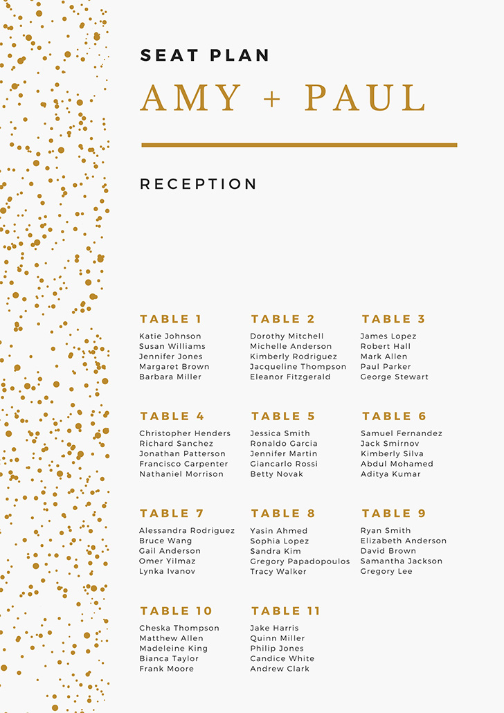 bronze-white-polkadot-minimal-seating-chart