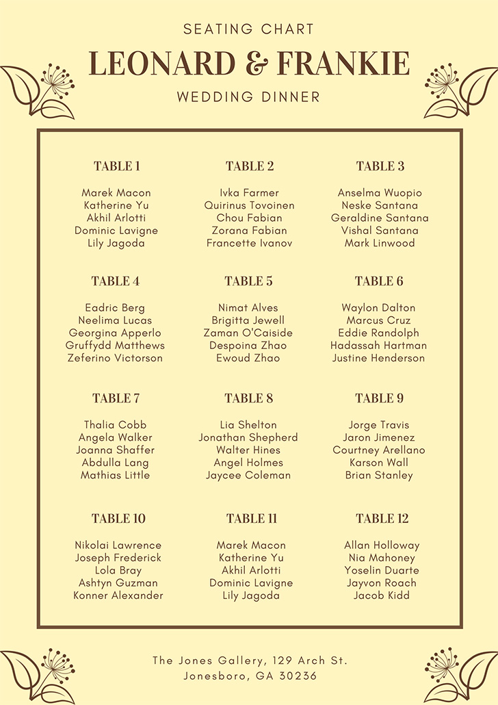 brown-vintage-flower-wedding-seating-chart
