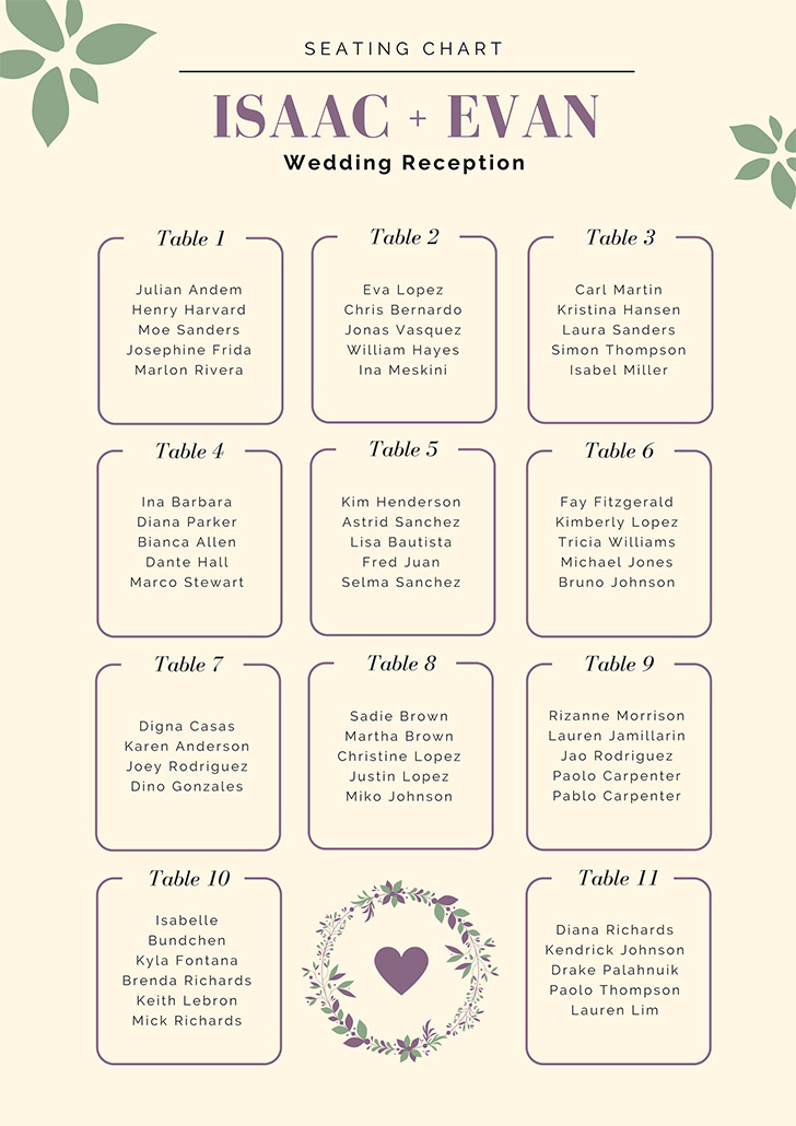 cream-with-leaves-wedding-seating-chart