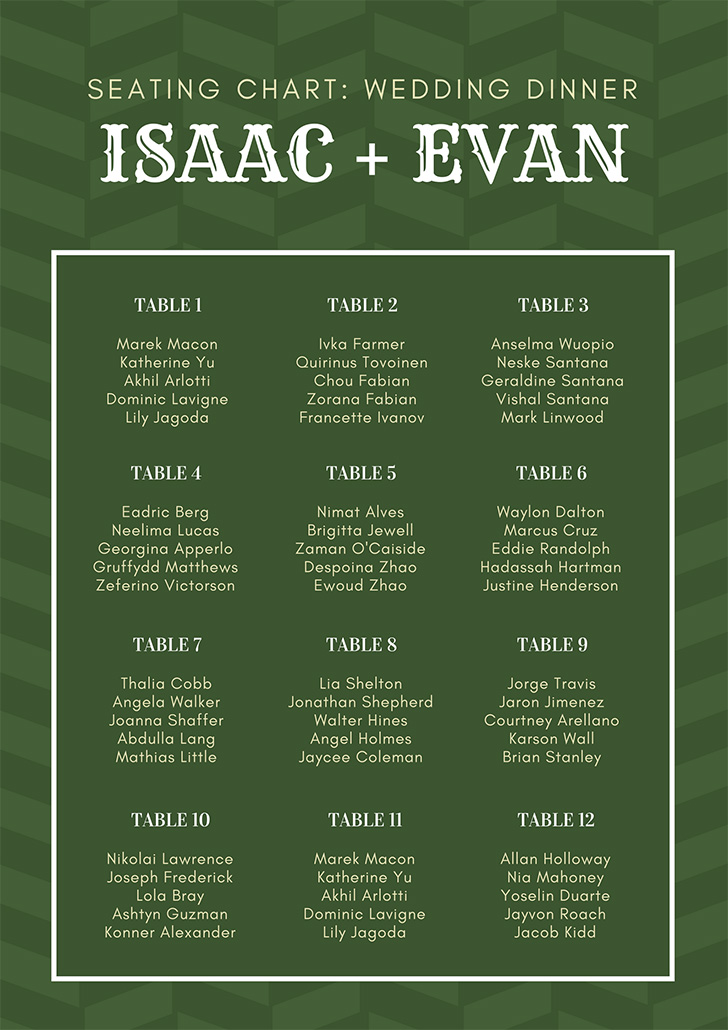 green-pattern-wedding-seating-chart