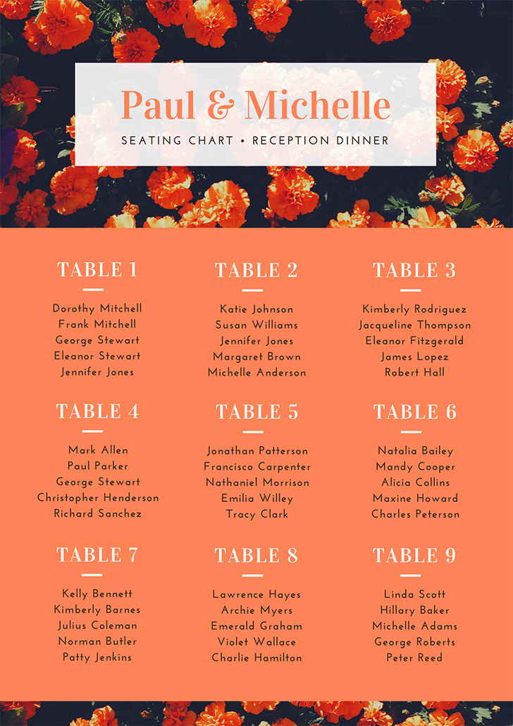 orange-modern-floral-wedding-seating-chart