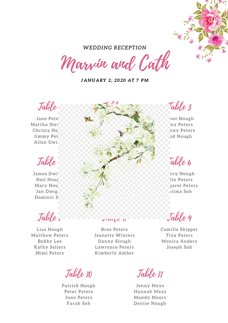 pink-and-white-flower-wedding-seating-chart