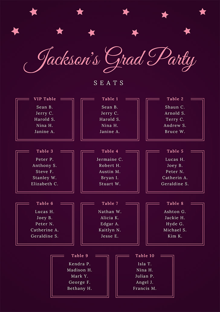 pink-sparkly-seating-chart
