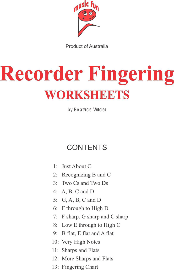 recorder-fingering-worksheets
